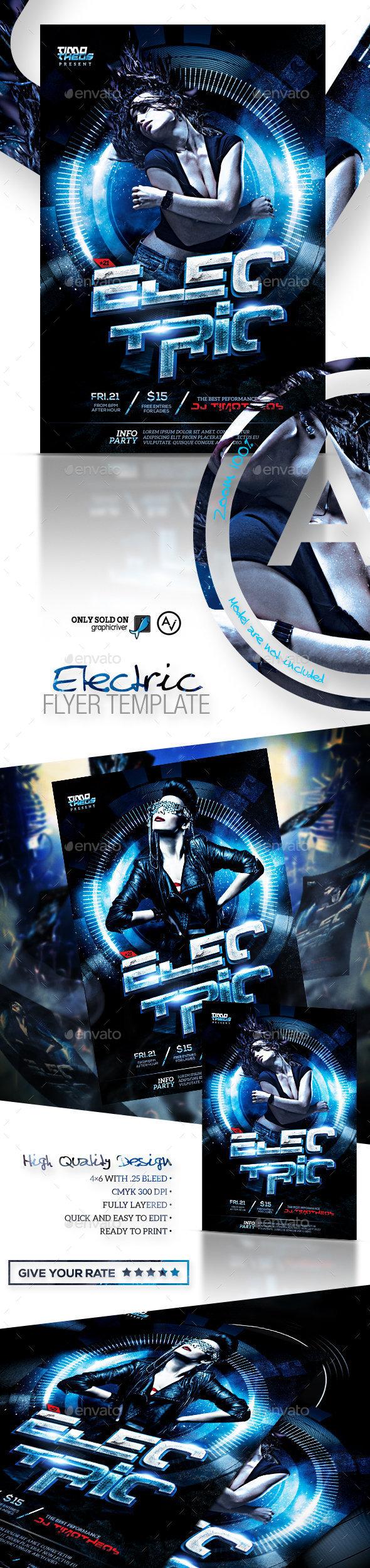 Electric Flyer Template - Clubs & Parties Events