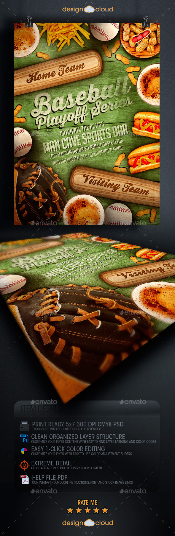 Baseball Playoff Series Flyer Template - Sports Events