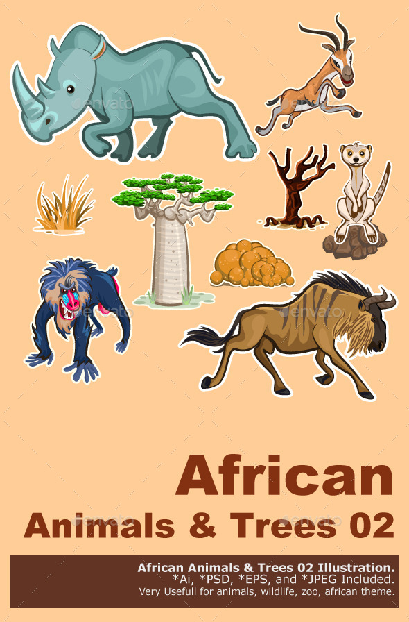 Africa Animals & Trees Collection Set 02 - Animals Characters