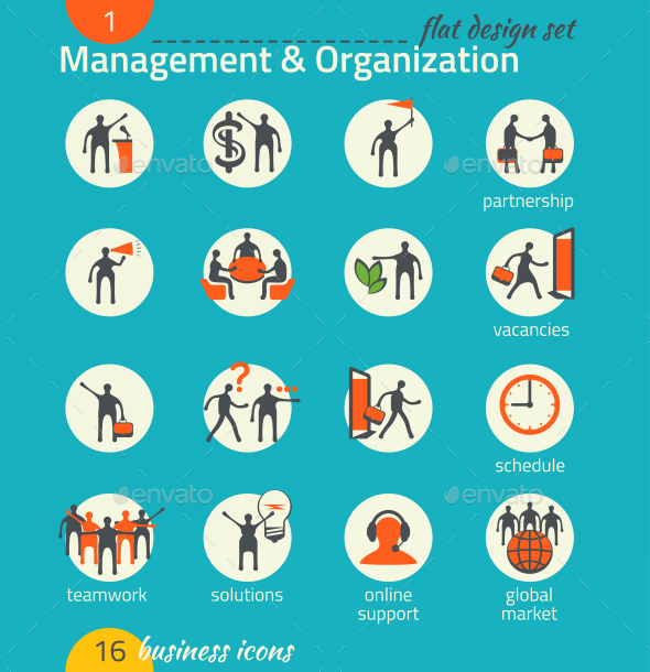 Business Icon Set. Management, Human Resource - Business Icons
