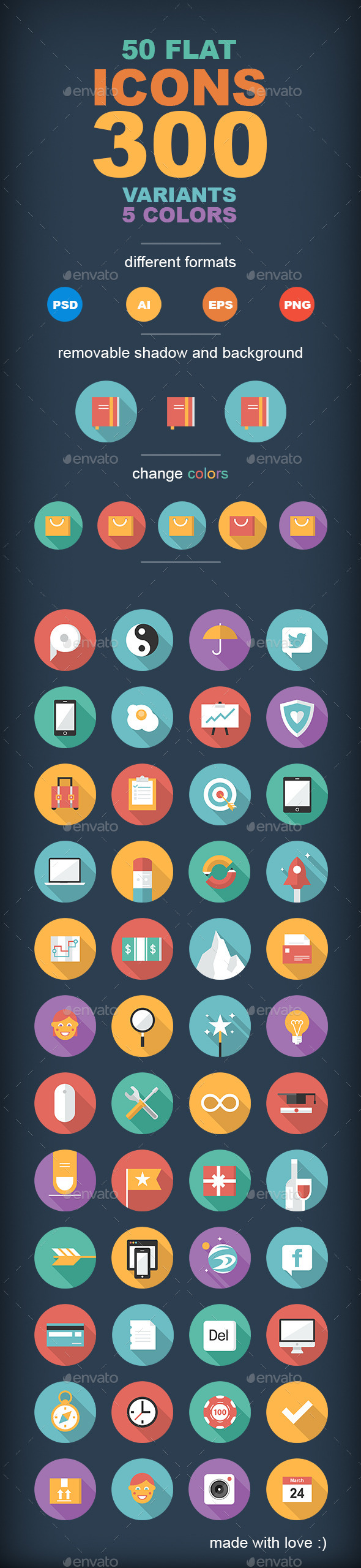 50 Flat Icons  - Miscellaneous Icons