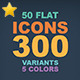 50 Flat Icons  - GraphicRiver Item for Sale