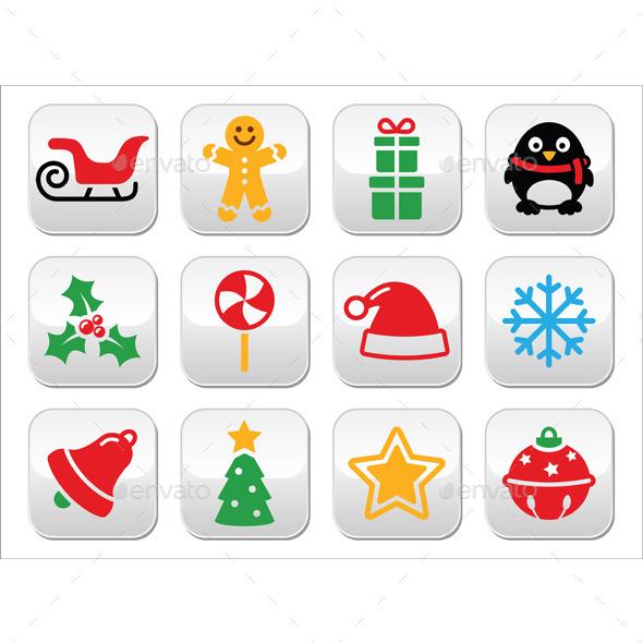 Christmas Buttons Set - Santa, Xmas Tree, Present - Christmas Seasons/Holidays