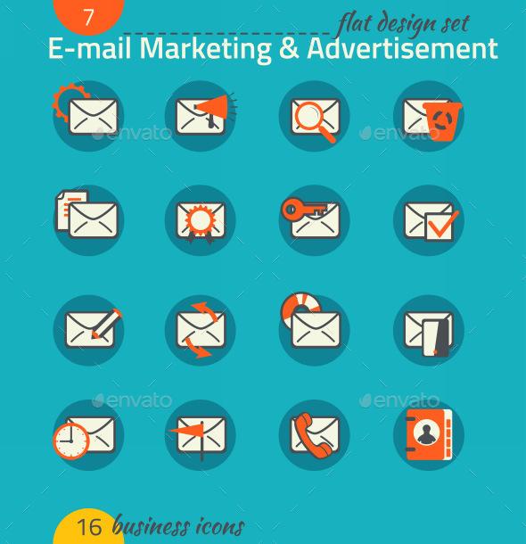 Business Icon Set. E-mail Marketing, E-commerce - Business Icons