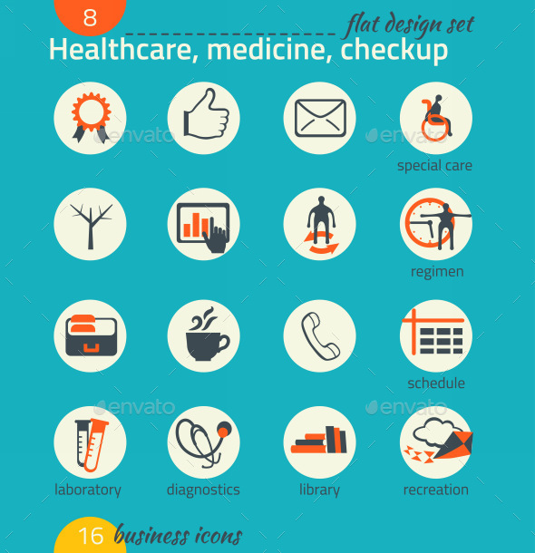 Business Icon Set. Healthcare, Medicine, Diagnose - Business Icons
