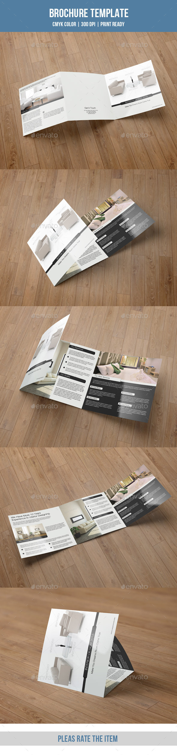 Minimal Square Trifold for Interior Design-V41 - Corporate Brochures
