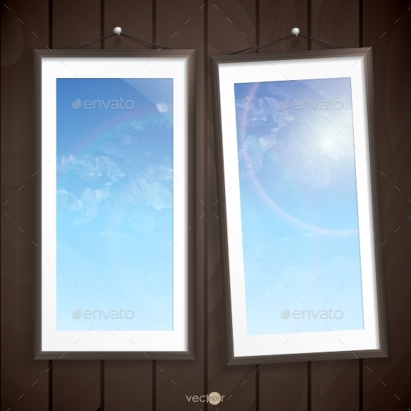 Two  Frames Of Picture On A Striped Old Wall - Borders Decorative