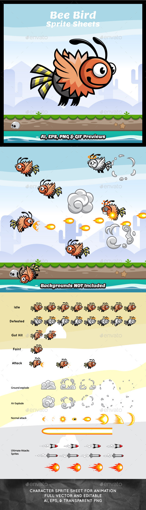 Bee Bird Game Character Sprite Sheets - Sprites Game Assets