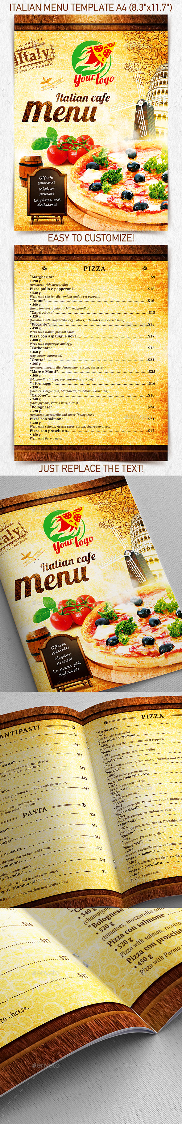 Italian Menu Template vol.1 - Food Menus Print Templates
