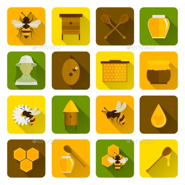 Bee Honey Icons Flat - Food Objects
