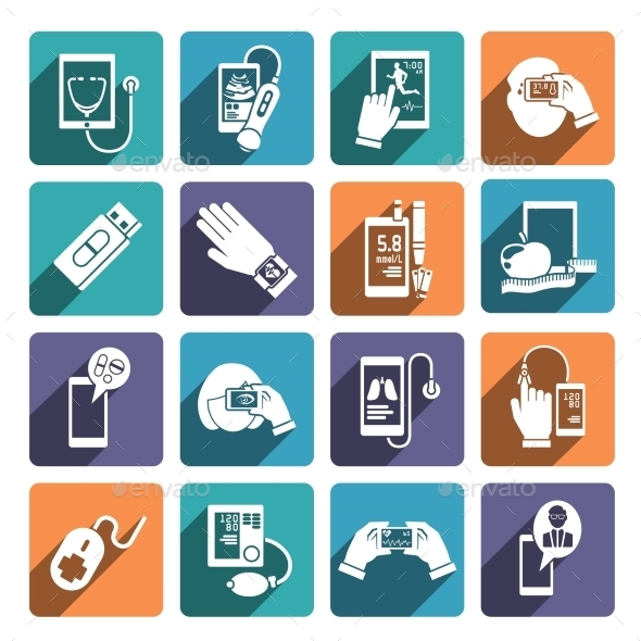 Digital Health Icons Set - Health/Medicine Conceptual