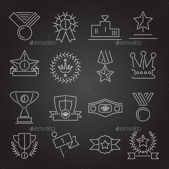 Award Icons Set Outline - Web Technology