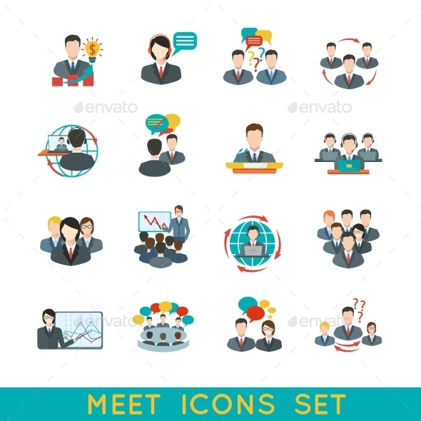 Meeting Icons Set Flat - Business Conceptual