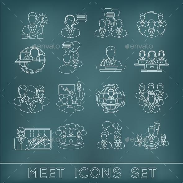 Meeting Outline Icons Set - Web Elements Vectors
