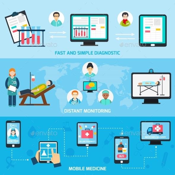 Mobile Health Line Banners - Health/Medicine Conceptual