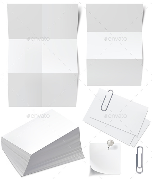 Paper, Business Cards, Pin and Clip - Objects Vectors