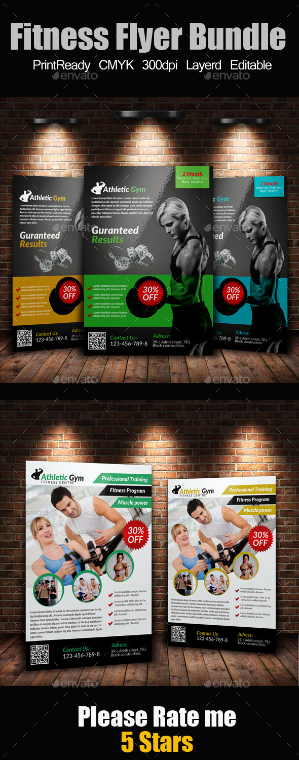A4 Body Fitness Flyers Bundle - Corporate Flyers