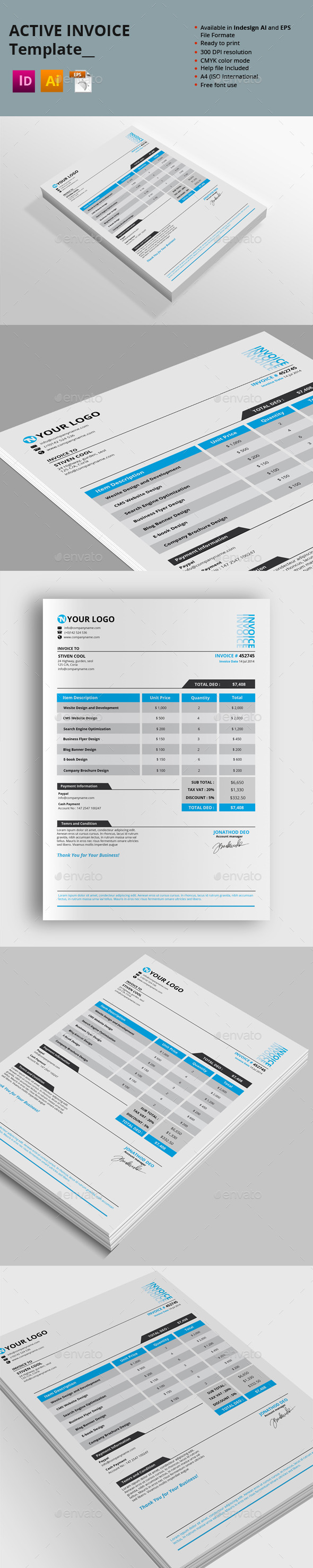 Active Invoice Templates - Proposals & Invoices Stationery