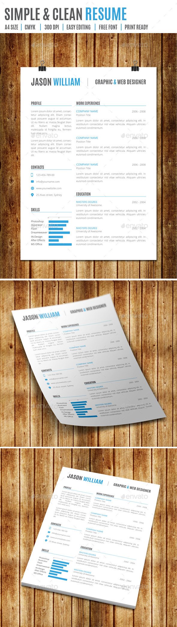 Simple & Clean Resume - Resumes Stationery