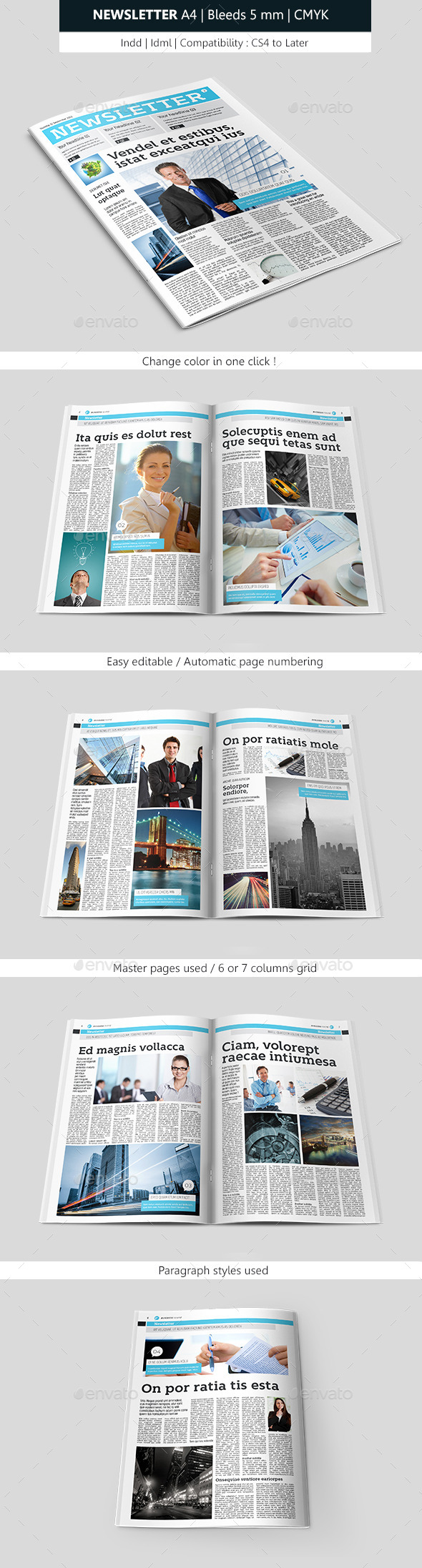 Creative Indesign Newsletter Template Design - Newsletters Print Templates