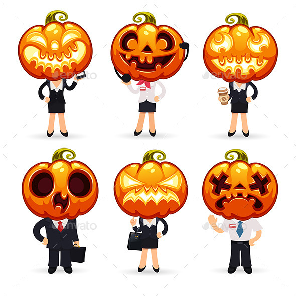 Businessmen With Pumpkins on a Heads - Halloween Seasons/Holidays