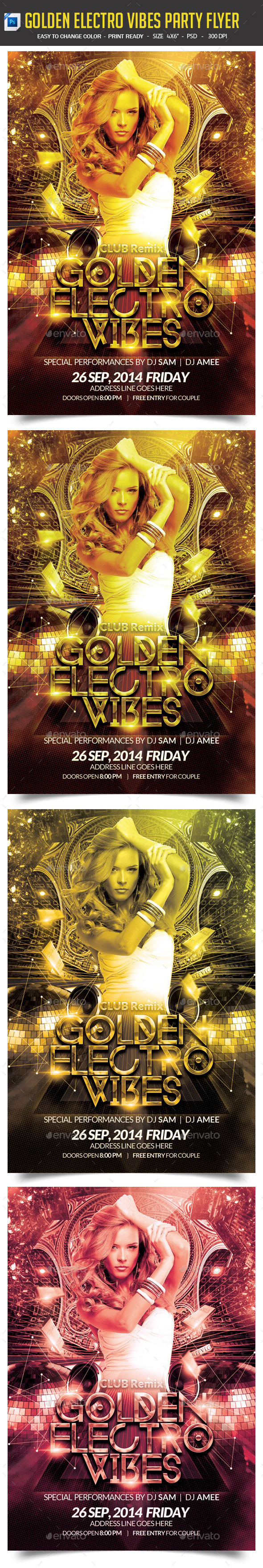 Golden Electro Vibes Party Flyer - Clubs & Parties Events