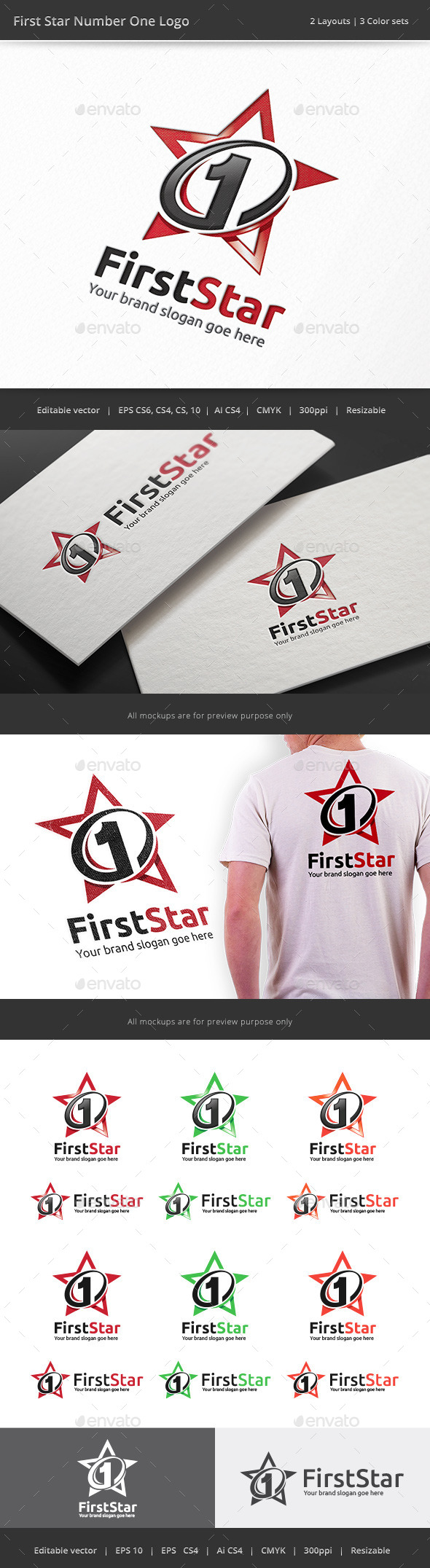 Number One First Star Logo - Numbers Logo Templates