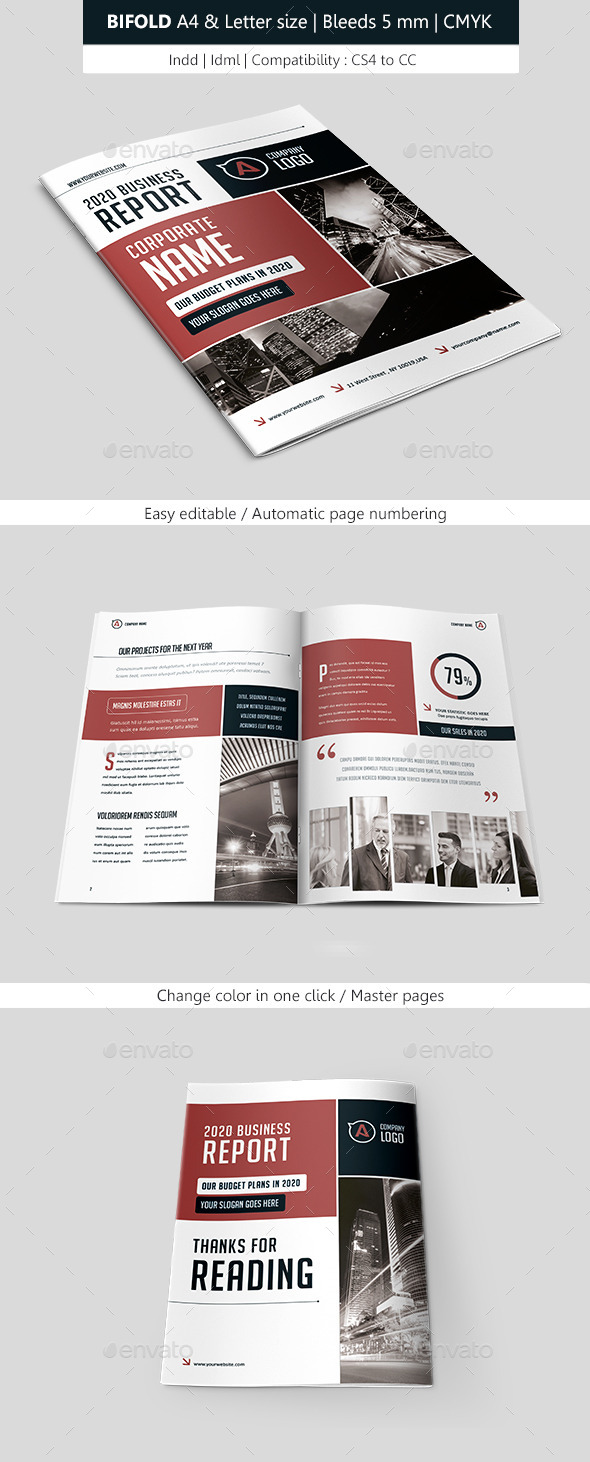 Bifold Business Brochure Template - Corporate Brochures