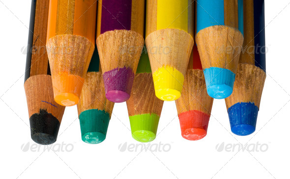 Isolated colored crayons - Stock Photo - Images