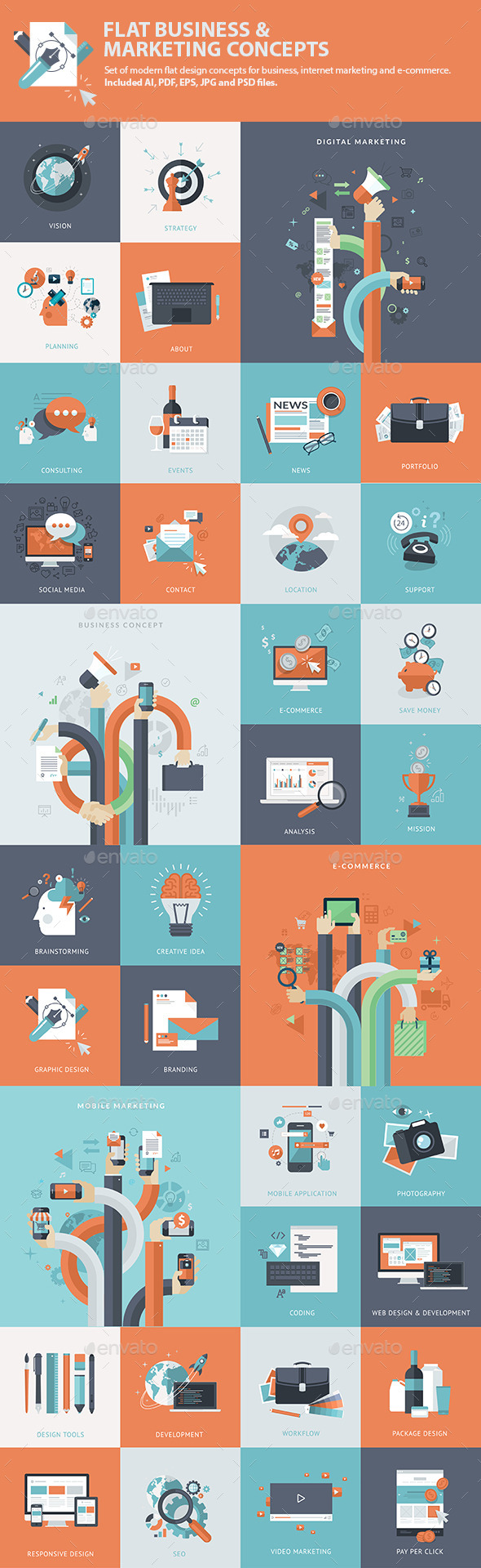 Set of Flat Business & Marketing Concepts  - Business Conceptual