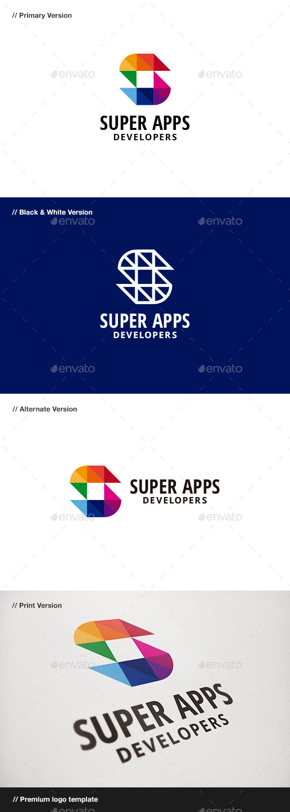 Super Apps - Abstract & Letter S Logo - Abstract Logo Templates