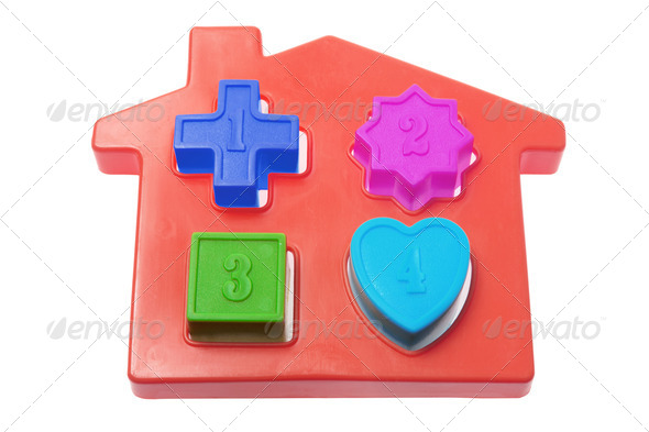 Plastic Toy House with Shapes - Stock Photo - Images