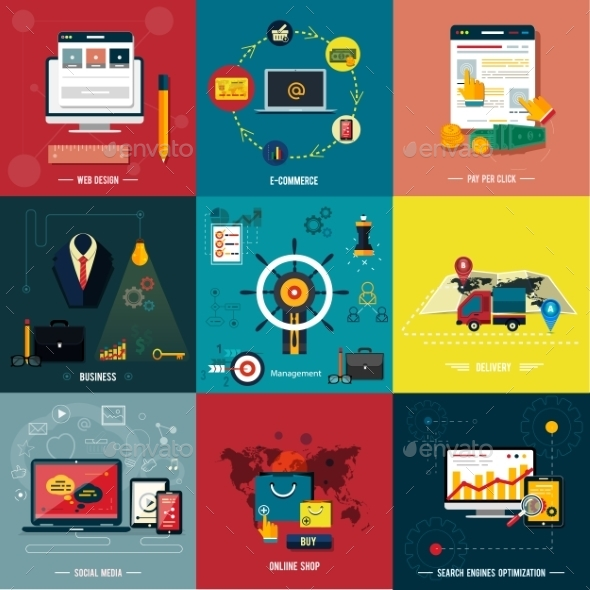 Icons for Web Design, Seo, Social Media - Web Technology