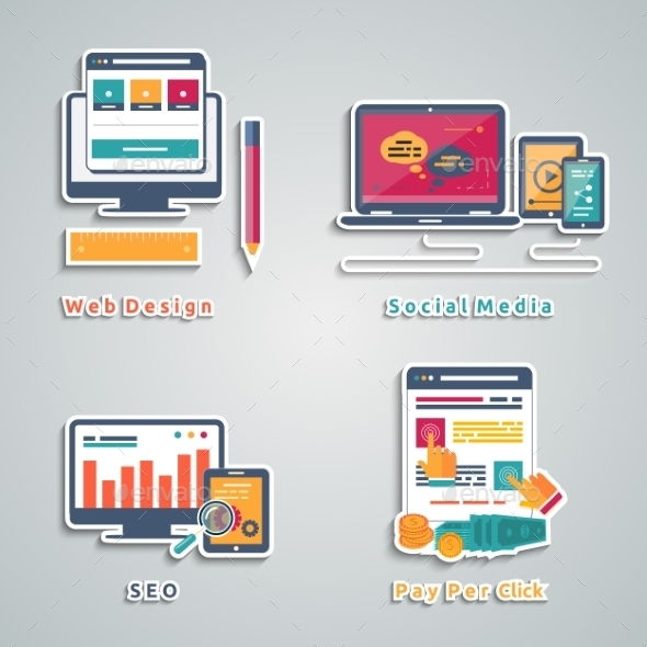 Web Design, Seo, Social Media Icons  - Web Technology