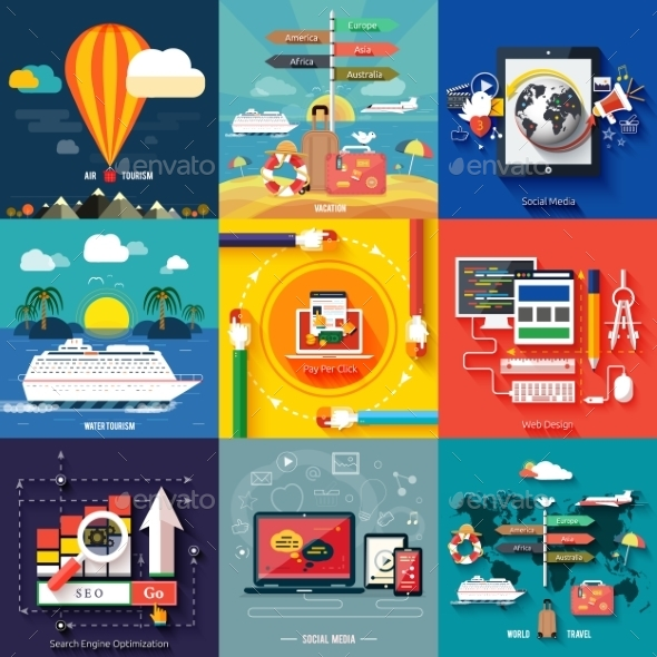 Web Design, Seo, Social Media and Travel - Technology Conceptual