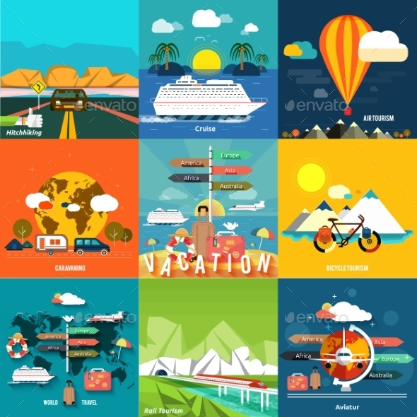 Traveling and Planning a Summer Vacation - Travel Conceptual