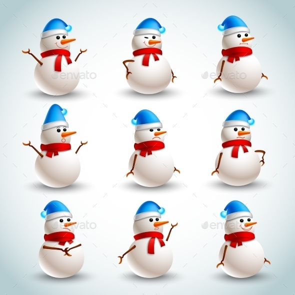 Snowman Emotions Set - Miscellaneous Seasons/Holidays