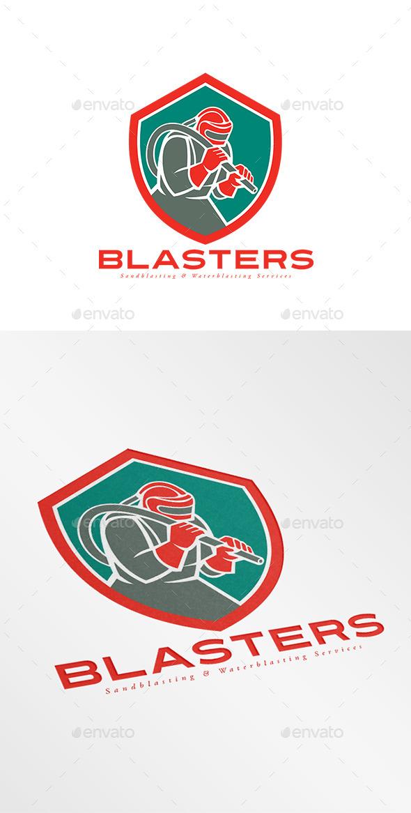 Blasters Sandblasting Services Logo - Humans Logo Templates