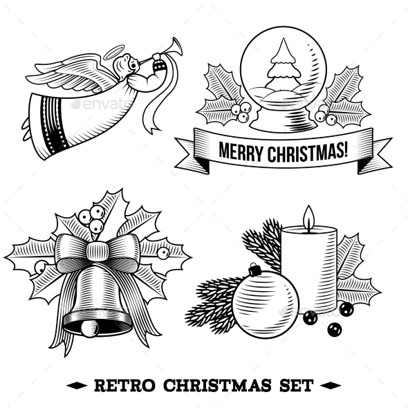 Christmas Icons Black and White Set - Christmas Seasons/Holidays