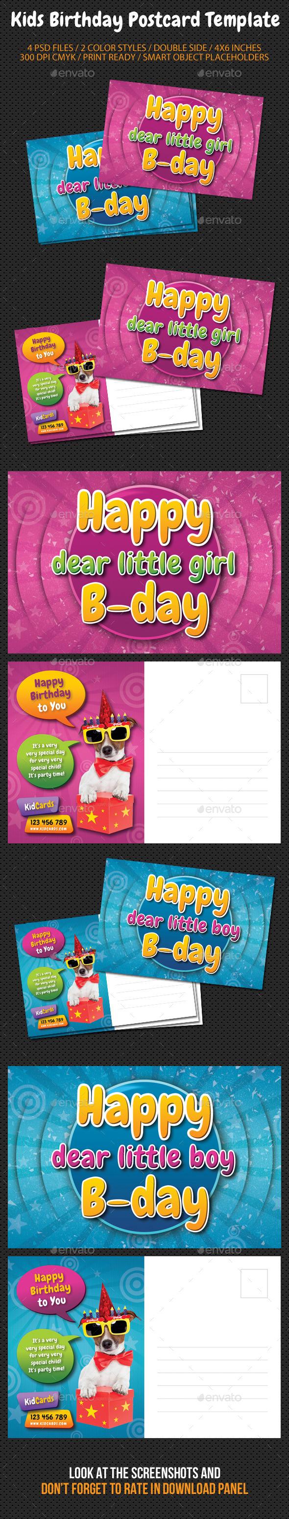 Kids Birthday Postcard Template - Birthday Greeting Cards