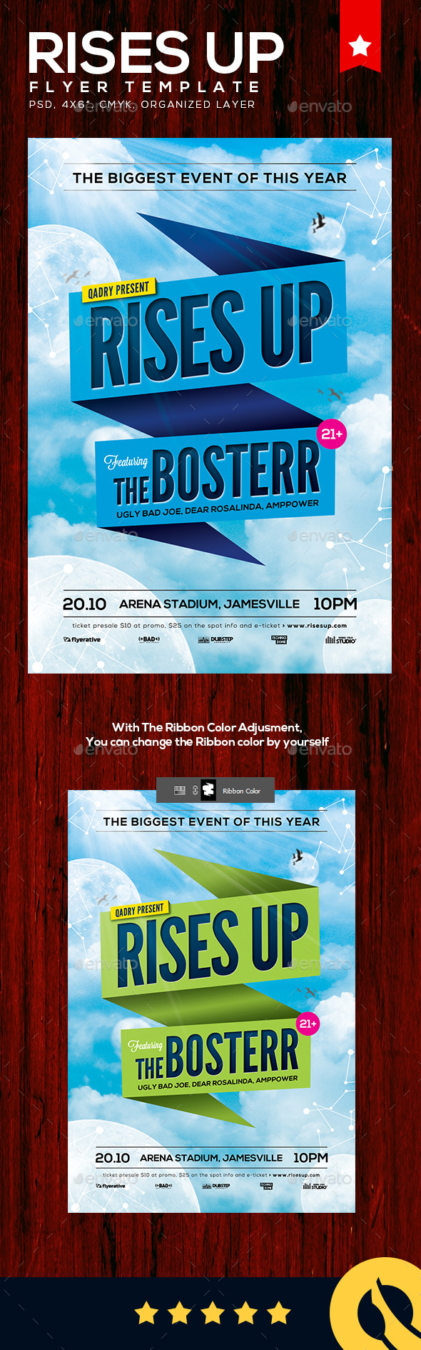 Rise Up Flyer Template - Clubs & Parties Events