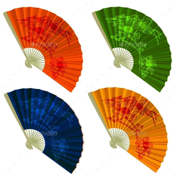 Set Traditional Folding Fans with Flowers - Decorative Symbols Decorative