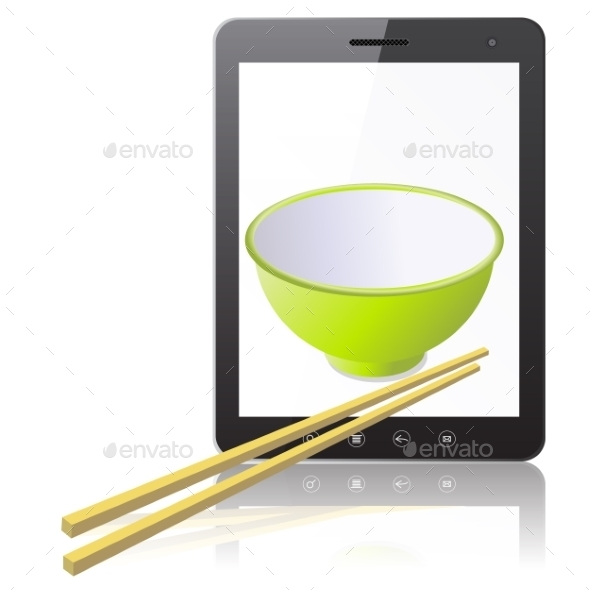 Tablet PC Computer with Mug with Wooden Chopsticks - Decorative Symbols Decorative