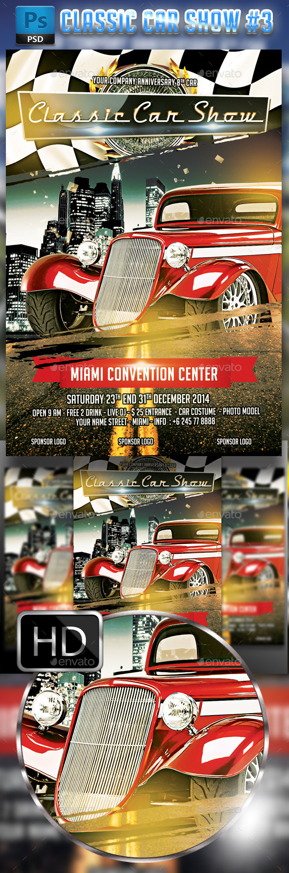 Classic Car Show flyer #3 - Events Flyers