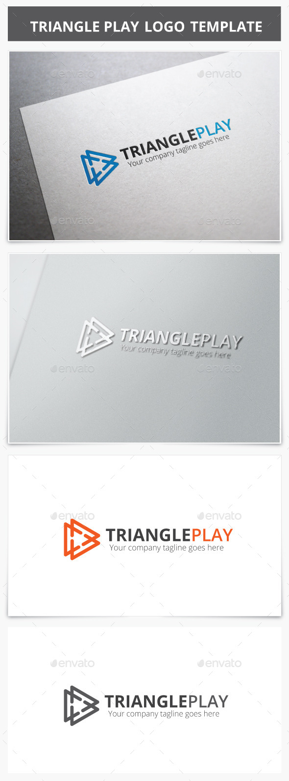 Triangle Play Logo - Vector Abstract