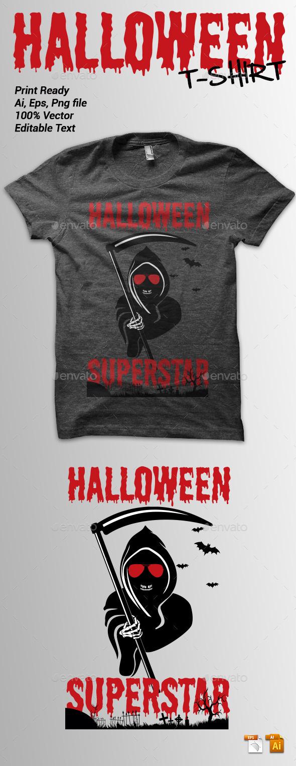 Halloween Superstar Tshirt - Grunge Designs
