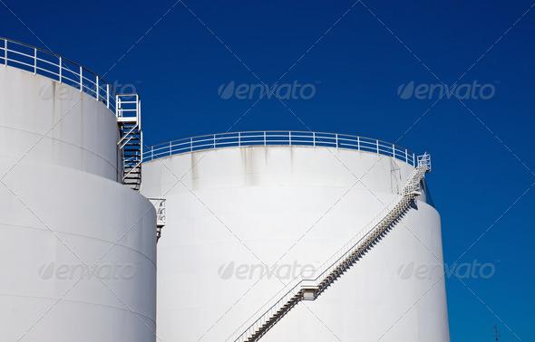 White storage tanks - Stock Photo - Images