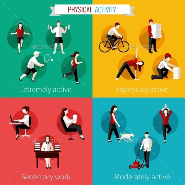 Physical Activity Flat Set - Sports/Activity Conceptual