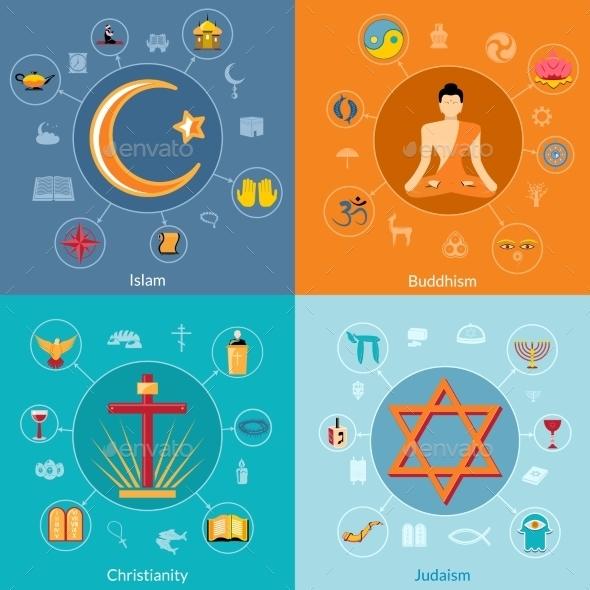 Religions Flat Set - Religion Conceptual