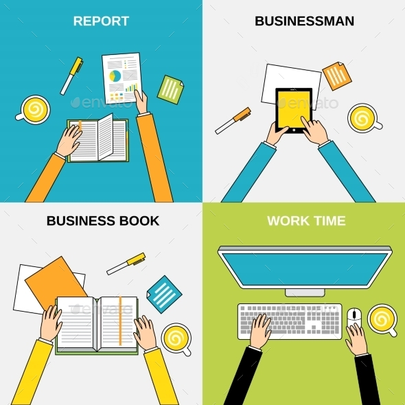 Business Hands Flat Line - Concepts Business